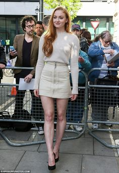 Sansa, is that you?Sophie Turner looked worlds away from her Game Of Thrones alter-ego as she arrived at the BBC Radio Two in central London on Friday morning to chat on the Chris Evans Breakfast Show