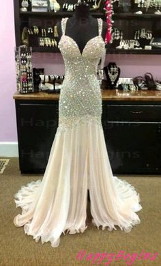 Long prom dress, ivory spaghetti straps beaded backless prom dress with pearls on Etsy, £150.68