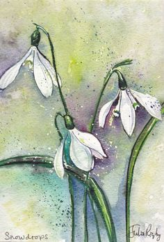 ARTFINDER: Snowdrops by Julia Rigby - Snowdrops are flowering in the UK! This is a painting inspired by these delicate little flowers. Lots of watery colour and ink detail. This painting comes ...