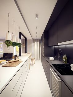 Apartment Long Black And White Galley Kitchen Set With Modern Appliances  Plus Hanging Inverted Succulentu2026