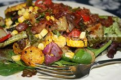 Grilled or Roasted Vegetable Spinach Salad with Warm Bacon Dressing - Use your favorite seasonal veggies!