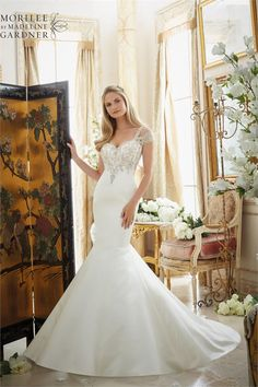 Browse beautiful MoriLee wedding dresses and find the perfect gown to suit your bridal style. Two Piece Wedding Dress, Wedding Dress Organza, Stunning Wedding Dresses, Bridal Wedding Dresses, Bridal Style, One Shoulder Wedding Dress, Wedding Bells, Mori Lee Bridal, Bride