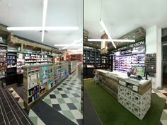 Whites Dispensary Melbourne The checkerboard tiled floor, custom joinery, reclaimed grey skin aged timber, decorative concrete bricks, green carpet, cross-shaped large scale lights & industrial furniture create a sense of warmth framing the products & allowing them to stand out. The beauty products contrast w/ the natural feeling of the dispensary proposition & thus stand out in its earthy luxurious approach. Interiors reflect a contemporary look & feel seen in fashion & hospitality sectors.