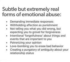 Emotional abuse is real 🕊 * You may recognise a few of these in your own toxic dynamic. * Whether it be a romantic relationship, familial… Narcissistic People, Narcissistic Behavior, Narcissistic Abuse Recovery, Mental And Emotional Health, Emotional Healing, Emotional Abuse Quotes, Verbal Abuse, Toxic Relationships, Healthy Relationships