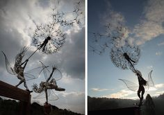 Incredible series of steel wire fairy sculptures