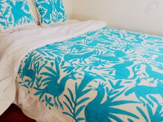 Unique Otomi Bedspread or  Table Cloth handembroidered by otomi women #BlueTenango #BlueOtomi fabric 2.18 X 2.18 yds More Colors available!