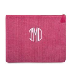 Our personalized Jute Carry-All Tassel Pouches are perfect for makeup, tablets, school and office supplies, wet beach gear and more - or as a cute, casual clutch anytime. Available in 5 colors, embroider your monogram, name or a cute saying in a coordinating color. https://www.thingsremembered.com/jute-carry-all-tassel-pouches/product/343739?fcref=pinterest