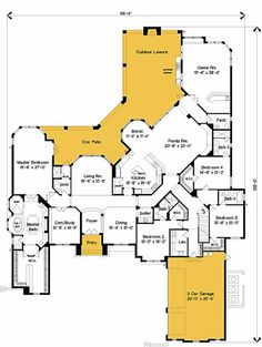European Style House Plans - 5800 Square Foot Home , 1 Story, 4 Bedroom and 5 Bath, 3 Garage Stalls by Monster House Plans - Plan - Fox Home Design House Plans One Story, Dream House Plans, House Floor Plans, My Dream Home, Story House, 4000 Sq Ft House Plans, The Plan, How To Plan, Plan Plan