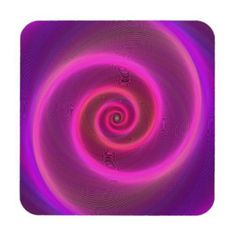 Neon spiral drink coaster $29.80 *** spiral - neon - pink - purple - light - swirl - fractal - twirl - graphic - digital art - color - hypnotic - neon light - coaster