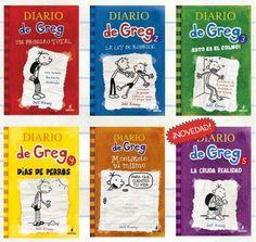 """La colección completa, por el momento, de """"Diario de Greg"""" libros para niños a partir de 10 años."""