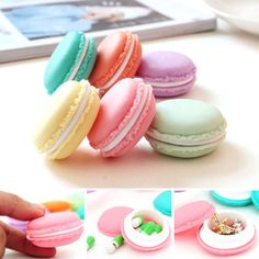 6 unids Mini Macarons Bolsa Caja de Almacenamiento de la Tarjeta SD Del Auricular Caso Bolsa de Transporte pequeño joyero organizador pastillas envío de la gota
