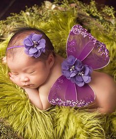 Another great find on #zulily! Purple Wings & Flower Headband #zulilyfinds