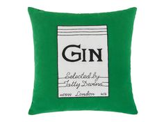 Tatty Devine Gin Bottle Cushion, 45 x Green - Home 2018 Gin Bottles, Tatty Devine, Cushions On Sofa, Furniture Collection, Furniture Design, Designer Cushions, Bedding, Archive, Tapestry
