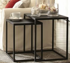 "Burke Nesting Side Tables, Set of 2 | Pottery Barn (20""square X 24""h; 17""square X 21""h)"