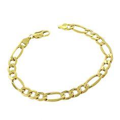 International 10k Gold Men's 8 mm Hollow Figaro Link Fancy Chain Bracelet