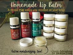 Easy and bountiful Homemade Lip Balm recipe using Young Living Essential Oils