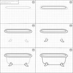 How to draw a bathtub.
