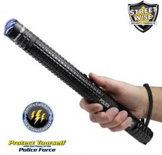 *** BEST SELLER!!!! *** Police Force Tactical Flashlight Stun Baton - 10 Million Volts - Designed for Police & Military but Now Available to Civilians. Super Bright LED Flashlight with 5 Light Modes. One Of The Most Powerful Stun Batons Available. And Shock Proof Exterior. Click image for more details!