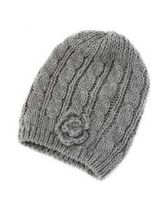 Cable-Knit Rosette Beanie: Charlotte Russe
