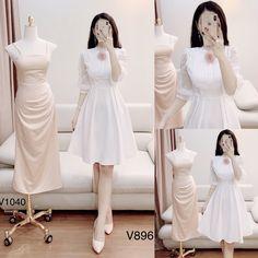 Korean Street Fashion, Asian Fashion, Dress Outfits, Fashion Dresses, Glamorous Evening Dresses, Fashion Design Sketches, Dress Collection, Party Dress, White Dress