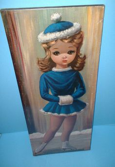 Eden Big Eye Girl In Blue Skating Dress Print Moppet Series RARE #ArtDeco