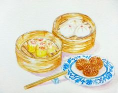 Dimsum Watercolor illustration by Maria C.D.