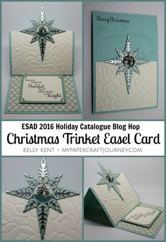 2016 TUTORIAL Christmas Trinket Easel Card featuring Star of Light stamp set… Homemade Christmas Cards, Homemade Cards, Handmade Christmas, Winter Cards, Holiday Cards, Stampin Up Weihnachten, Star Cards, Fancy Fold Cards, Easel Cards