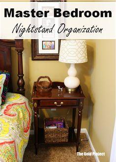 master bedroom nightstand organization