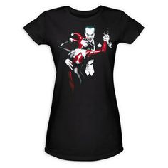 Joker and Harley Quinn Strike a Pose Womens Fitted Black T-Shirt