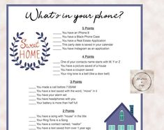 House Warming Party Trivia Game House Trivia New Home Trivia Games, Fun Games, Party Games, Housewarming Party Themes, Contact Names, Whats In Your Purse, First Game, Best Part Of Me, Cute Gifts