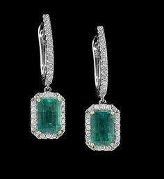 Lot: Emerald and Diamond Earrings, Lot Number: 0163, Starting Bid: $8,500, Auctioneer: New Orleans Auction Galleries, Auction: Fine Jewelry, Furs & Accessories      , Date: November 18th, 2017 CET