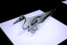 3d   WeWasteTime--origami using translucent paper printed with skeletons of endangered species by Takayuki Hori