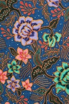 batik pattern with lavender and green flowers