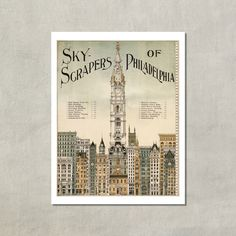 Skyscrapers Of Philadelphia, 1898 - 8.5x11 Poster Print - also available in 11x14 and 13x19 - see listing details by TwoDovesPrinting on Etsy https://www.etsy.com/listing/198859538/skyscrapers-of-philadelphia-1898-85x11