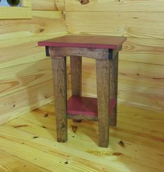 Red Side Table Night Stand Stained End Table by SmithwickandCo
