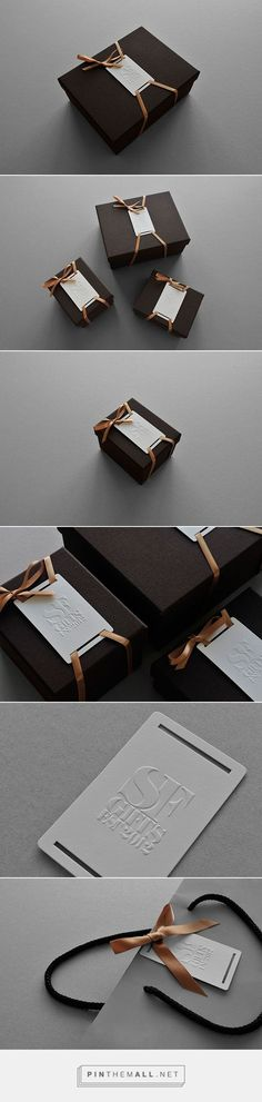 SF Gifts on Behance - contemporary branding and packaging design, white embossed/letterpress logo, dark brown box #giftpackaging