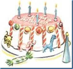 Vintage birthday cake illustration