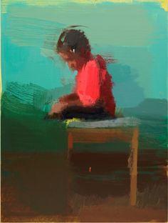 """Boy Reading"", oil on panel, 39"" x 30"""