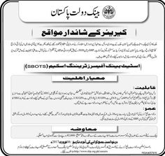 Last Date :06th February, 2017 Location : Karachi Organization : State Bank of Pakistan Education Required : Masters, Bachelors Here in the following page I am going to enlist the latest job opportunity from State Bank Officers Training Scheme (SBOTS) Jobs 2017 Latest Advertisement. State Bank of Pakistan which is one of the prestigious regulatory bank of our country and it is seeking & inviting the high qualified, talented, self-motivated and experience professional candidates are requi...