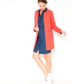 Manteau long sans col rouge Camaïeu 2016