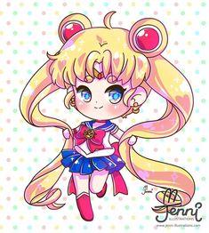 "1,754 Me gusta, 14 comentarios -  J E N N I  (@jennillustrations) en Instagram: ""Chibi Sailor Moon  . . . #sailormoon #chibi #90sanime #childhood #jenniilustrations…"""
