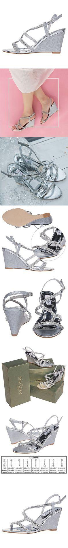 SheSole Women's Wedge Sandal Wedding Shoes Silver Size 10