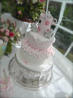 Christening cake with sugar paste Bunnies
