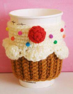 Crochet cupcake cup cozy