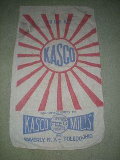 OLD KASCO MILLS FEED SACK BAG CLOTH-100 LB WAVERLY NY TOLEDO OHIO #KASCO