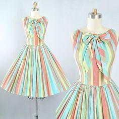 Vintage 50s Dress / 1950s Cotton Sundress Mindy Ross Pastel