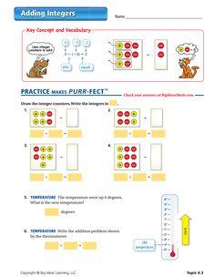 Adding Integers Worksheet Sarah Comuzie Algebra Tiles