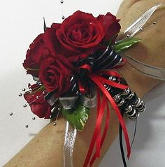 corsages with red roses and hydrangias   red rose black wrist corsage turquoise black white rose wrist corsage ...