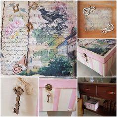 Caja de madera pintada con acrílico y aplicaciones de papel de arroz y maderas troqueladas.Patinada con ceras coloreadas. Personalizada con motivos musicales.Regalo muy especial