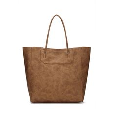 Brown  Leather-look Shopper Bag with Removable Clutch  - US$41.95 -YOINS